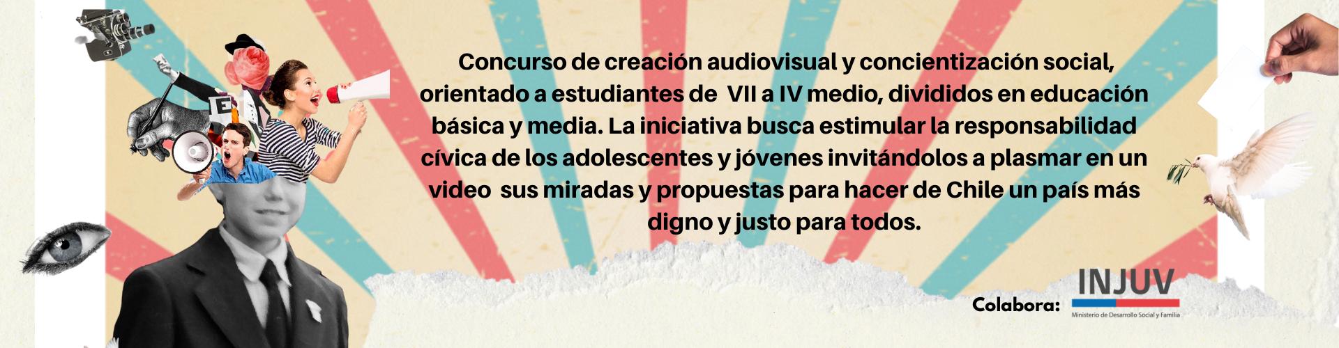Concurso de creación audiovisual y concientización social, orientado a estudiantes de entre 13 y 18 años, divididos en educación básica y media. La iniciativa busca estimular la responsabilidad cívica de los adol-1